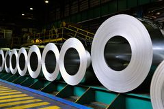 Rolls of steel sheet. In a warehouse Royalty Free Stock Image