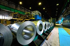Rolls of steel sheet Stock Images