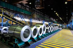 Rolls of steel sheet. In a warehouse Royalty Free Stock Photos