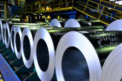 Rolls of steel sheet. In a warehouse Stock Photography