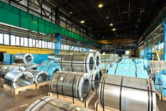 Rolls of steel sheet. In a warehouse Royalty Free Stock Photography