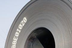 Rolls of steel sheet. Aginst blue sky Stock Photos