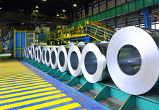Rolls of steel sheet. Inside of factory Stock Photography