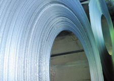 Rolls of steel sheet. Details inside of  factory Royalty Free Stock Image