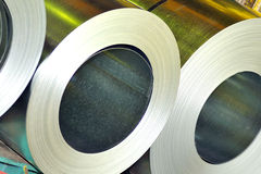 Rolls of steel sheet. Inside of factory Royalty Free Stock Images