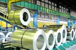 Rolls of steel sheet. Inside of factory Stock Photo