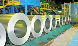 Rolls of steel sheet. Inside of factory Stock Image