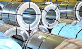 Rolls of steel sheet Stock Photos