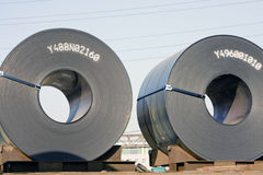 Rolls of steel sheet. In the sky Royalty Free Stock Image