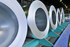 Rolls of steel sheet. Shoot in factory Royalty Free Stock Photo