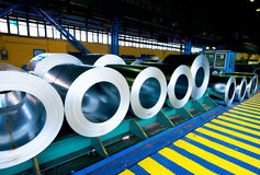 Rolls of steel sheet. In the manufacture Royalty Free Stock Photography