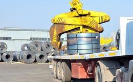 Rolls of steel sheet in harbor Royalty Free Stock Photo