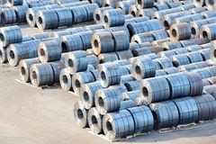 Rolls of steel sheet in harbor. Wait for loading Royalty Free Stock Images