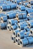 Rolls of steel sheet. In harbor Stock Photo