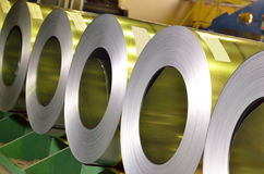 Rolls of steel sheet. Inside of plant Stock Images