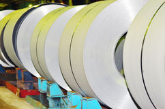 Rolls of steel sheet. Inside of plant Stock Photography