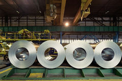 Rolls of steel sheet inside of plant. Cold rolled steel coils Stock Photos