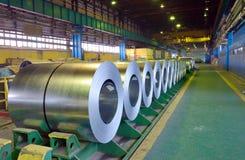 Rolls of steel sheet. In steel pant Royalty Free Stock Image