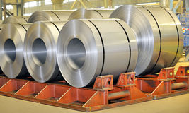 Rolls of steel sheet. In a plant Stock Photos