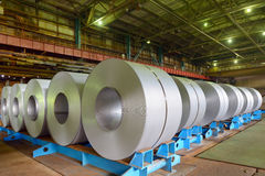 Rolls of steel sheet. In a plant Royalty Free Stock Images