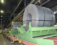 Rolls of steel sheet in a plant Royalty Free Stock Photography