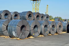 Rolls of steel sheet. In the shipyard Royalty Free Stock Photos