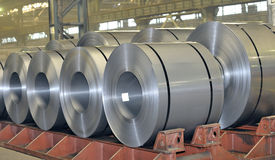 Rolls of steel sheet. Stored in warehouse Royalty Free Stock Photography