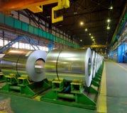 Rolls of steel sheet. Stored in warehouse Stock Photo
