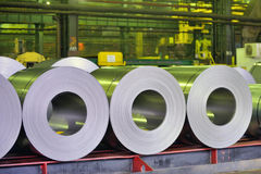 Rolls of steel sheet. In a warehouse Stock Images