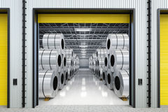 Rolls of steel sheet in warehouse. 3d rendering rolls of steel sheet in warehouse Stock Photos