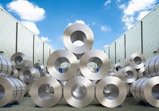 Rolls of steel sheet in warehouse. 3d rendering rolls of steel sheet in warehouse Stock Image