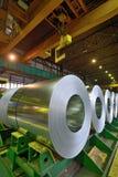 Rolls of steel sheet  in warehouse. Rolls of steel sheet stored in warehouse Royalty Free Stock Photo