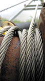 Rolls of steel wire ropes Royalty Free Stock Images