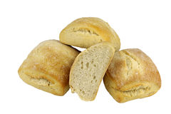 Rolls. Stonebaked crusty white bread rolls royalty free stock photos