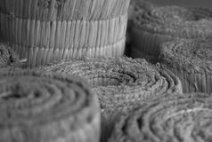 Rolls of straw in black and white, Otaru, Sapporo in Japan. There& x27;re rolls of knited straw in black and white, Otaru, Sapporo in Japan Royalty Free Stock Photography