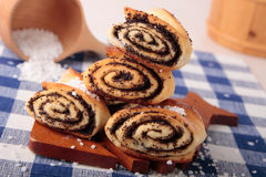 Rolls stuffed with sugar and  poppy Royalty Free Stock Photo