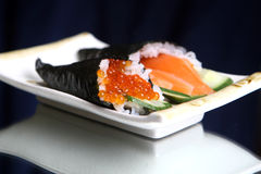 Rolls sushi. With caviar and fish royalty free stock photos