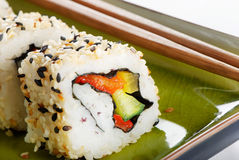 Rolls of sushi Stock Images
