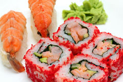 Rolls and sushi close-up Stock Photos