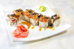 Rolls, sushi and ginger Royalty Free Stock Photos