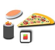 Rolls, sushi, pezzo di pizza deliziosa Immagini Stock Libere da Diritti