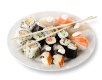 Rolls and sushi in a plate Stock Image