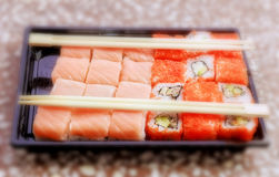 Rolls and sushi. Some different rolls in east tradition for best party stock photos