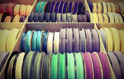 Rolls of tape for sale in the articles for hobby shop and wholes. Many rolls of tape for sale in the articles for hobby shop and wholesale tailoring Stock Photography
