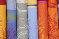 Some rolls of textile on the market Royalty Free Stock Images