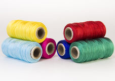 Rolls of thread with RGB and CMYK colors. Royalty Free Stock Image