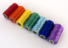 Rolls of thread with RGB and CMYK colors. Stock Photography