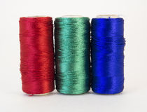 Rolls of thread with RGB colors. Royalty Free Stock Photo