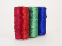 Rolls of thread with RGB colors. Royalty Free Stock Photos