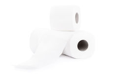 Rolls of toilet paper. Close-up shot of three rolls of toilet paper  on white background Royalty Free Stock Photos